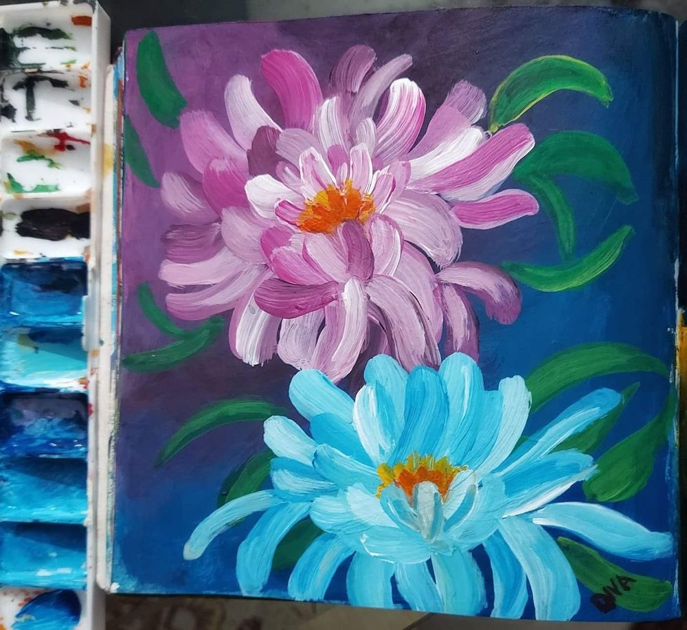 Acrylic flowers - image 1 - student project