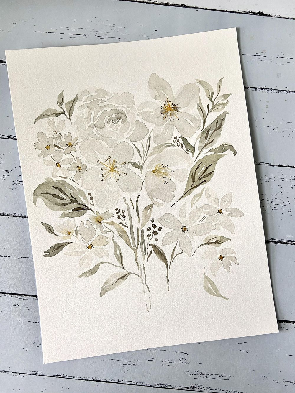 White Watercolor Flowers - image 1 - student project