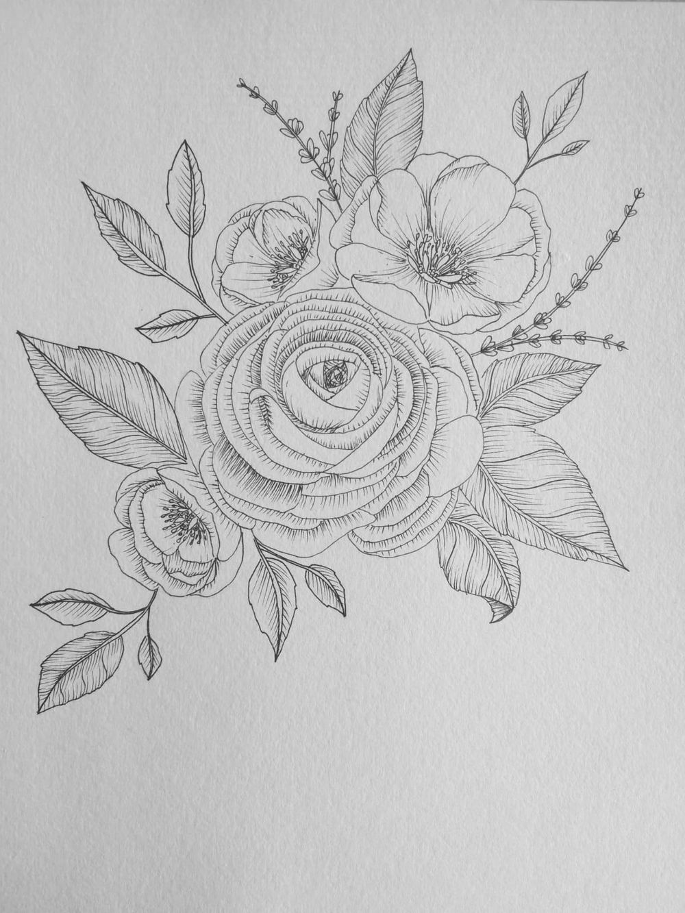 Floral Ink Drawing 101 - image 2 - student project