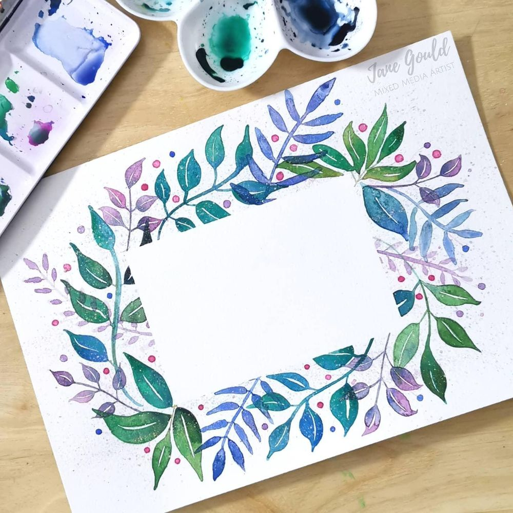 Loose Watercolor Leaves - Fun and Easy Way to Paint a Botanical Frame - image 2 - student project