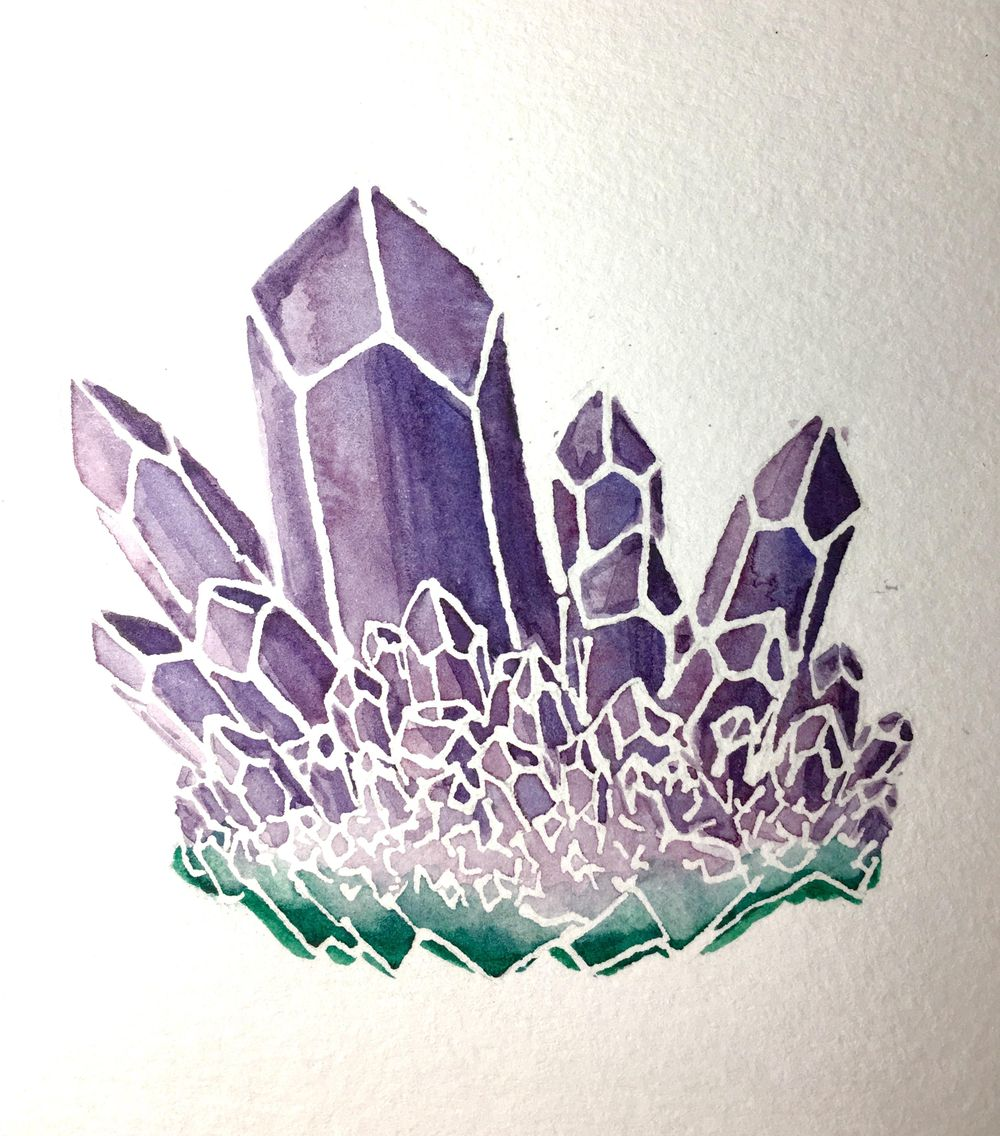 Watercolor Resist Amethyst - image 6 - student project