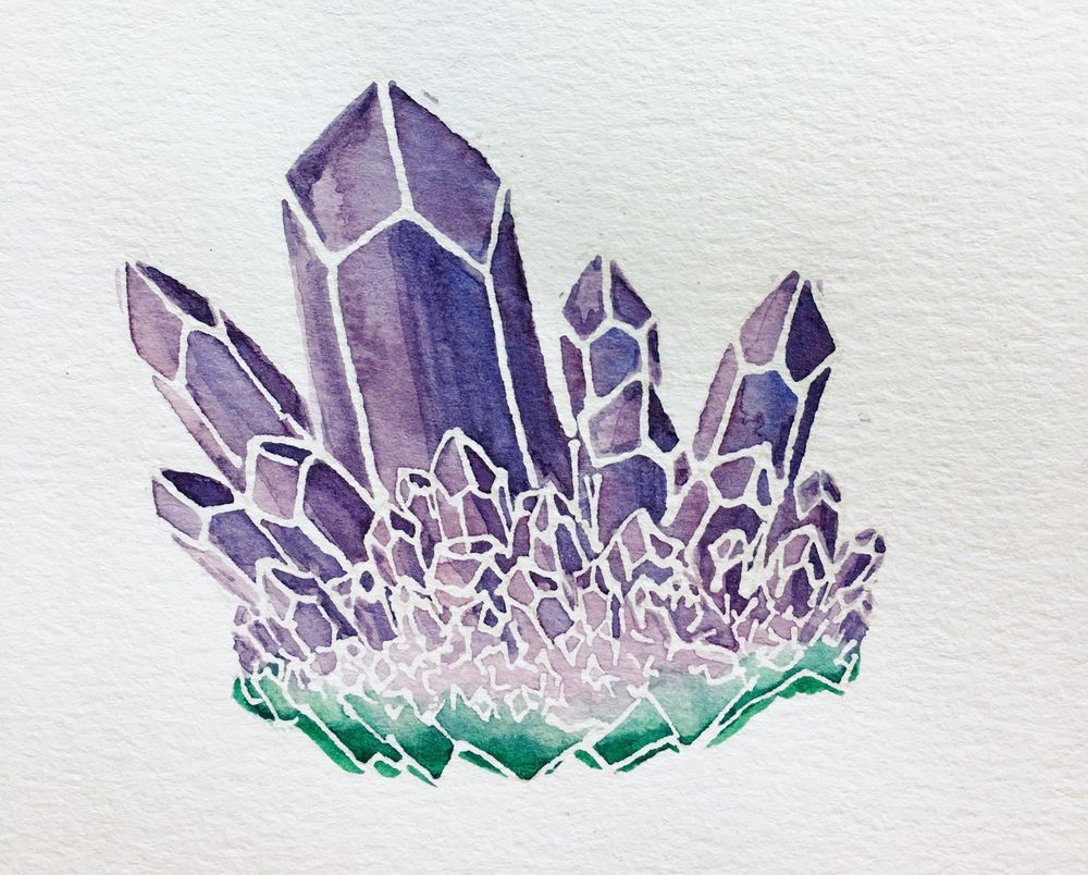 Watercolor Resist Amethyst - image 1 - student project