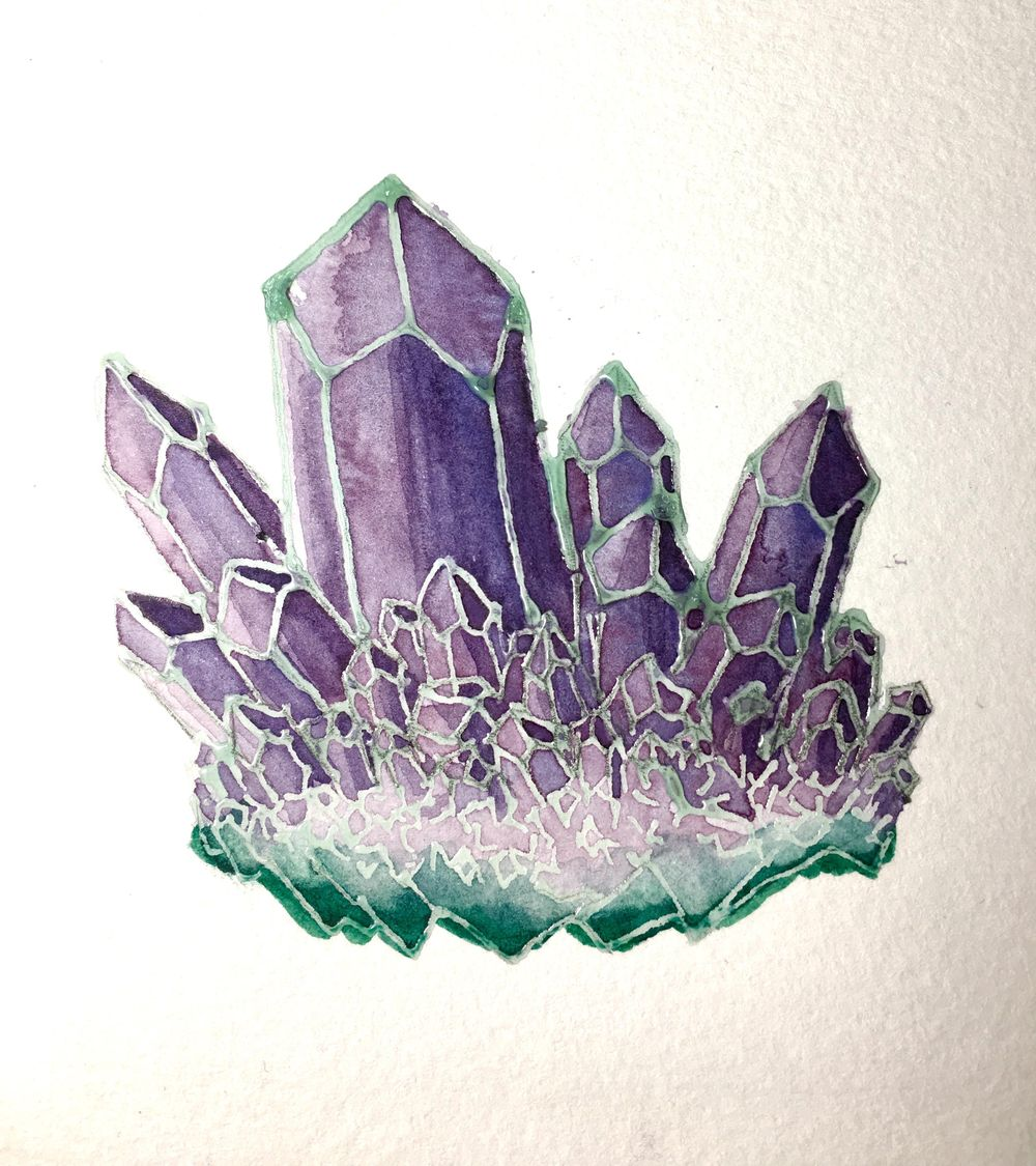 Watercolor Resist Amethyst - image 5 - student project