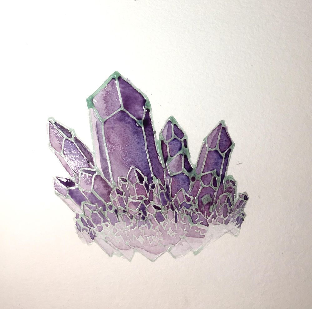 Watercolor Resist Amethyst - image 4 - student project