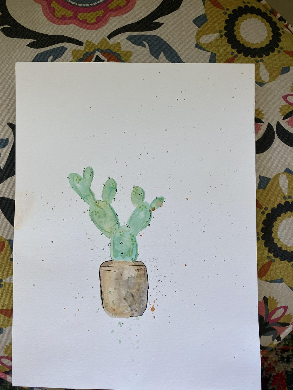 Watercolor cactus - image 1 - student project