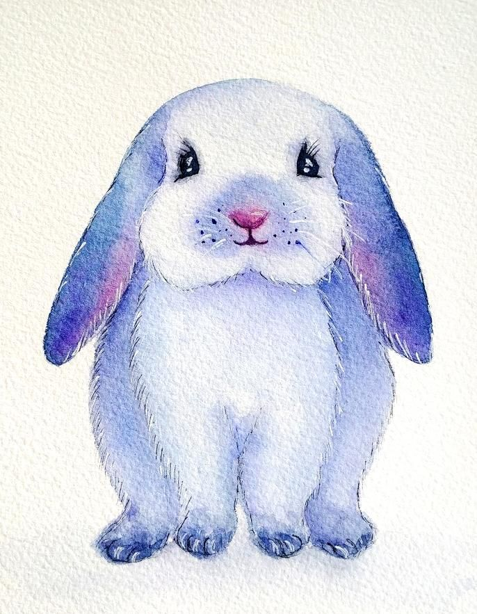 Ink and watercolor bunny - image 1 - student project