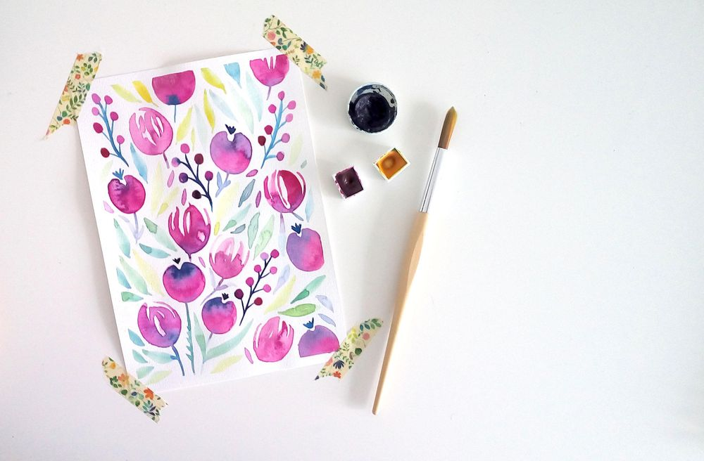 My watercolor floral: Tulips & Berries! - image 4 - student project