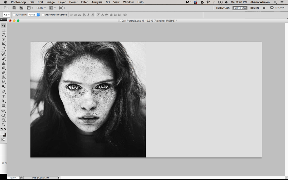 Digital Portrait of a Freckled Girl - image 2 - student project