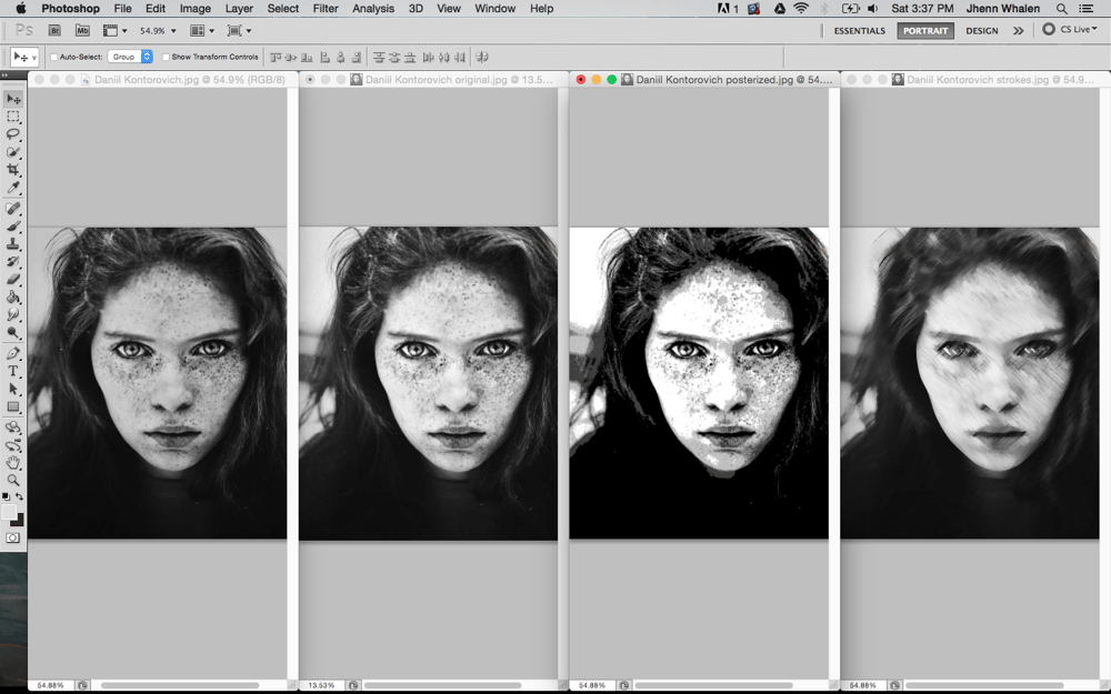 Digital Portrait of a Freckled Girl - image 1 - student project