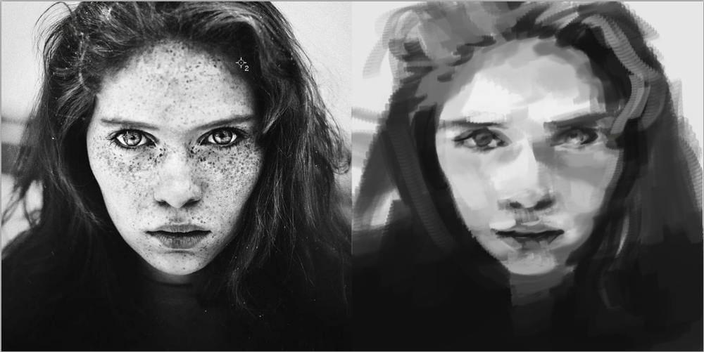 Digital Portrait of a Freckled Girl - image 3 - student project