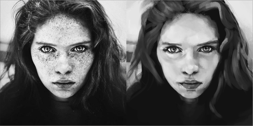 Digital Portrait of a Freckled Girl - image 5 - student project