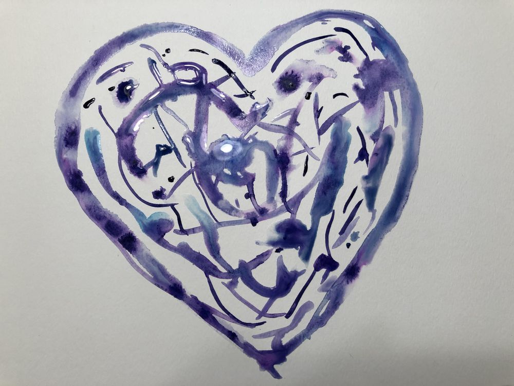 Intuitive painting - heart prompt - image 1 - student project