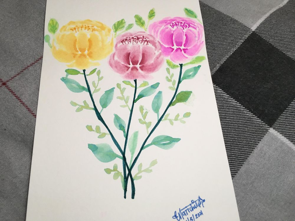 Brush Pen Loose Florals Watercolor Paintings - image 3 - student project