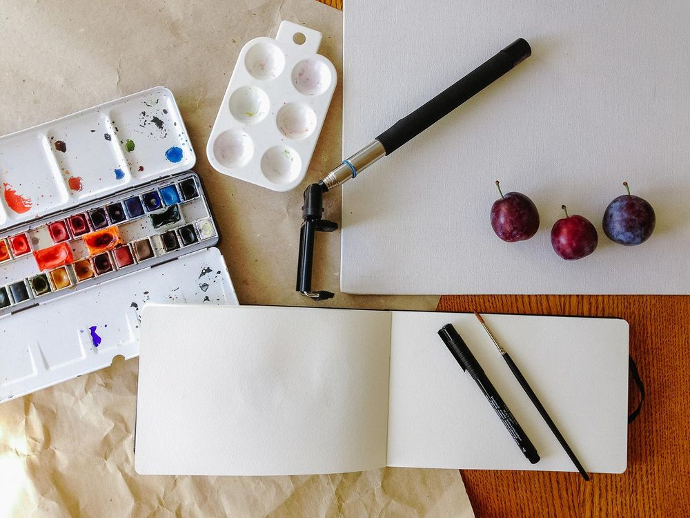 Plums and watercolour - image 1 - student project