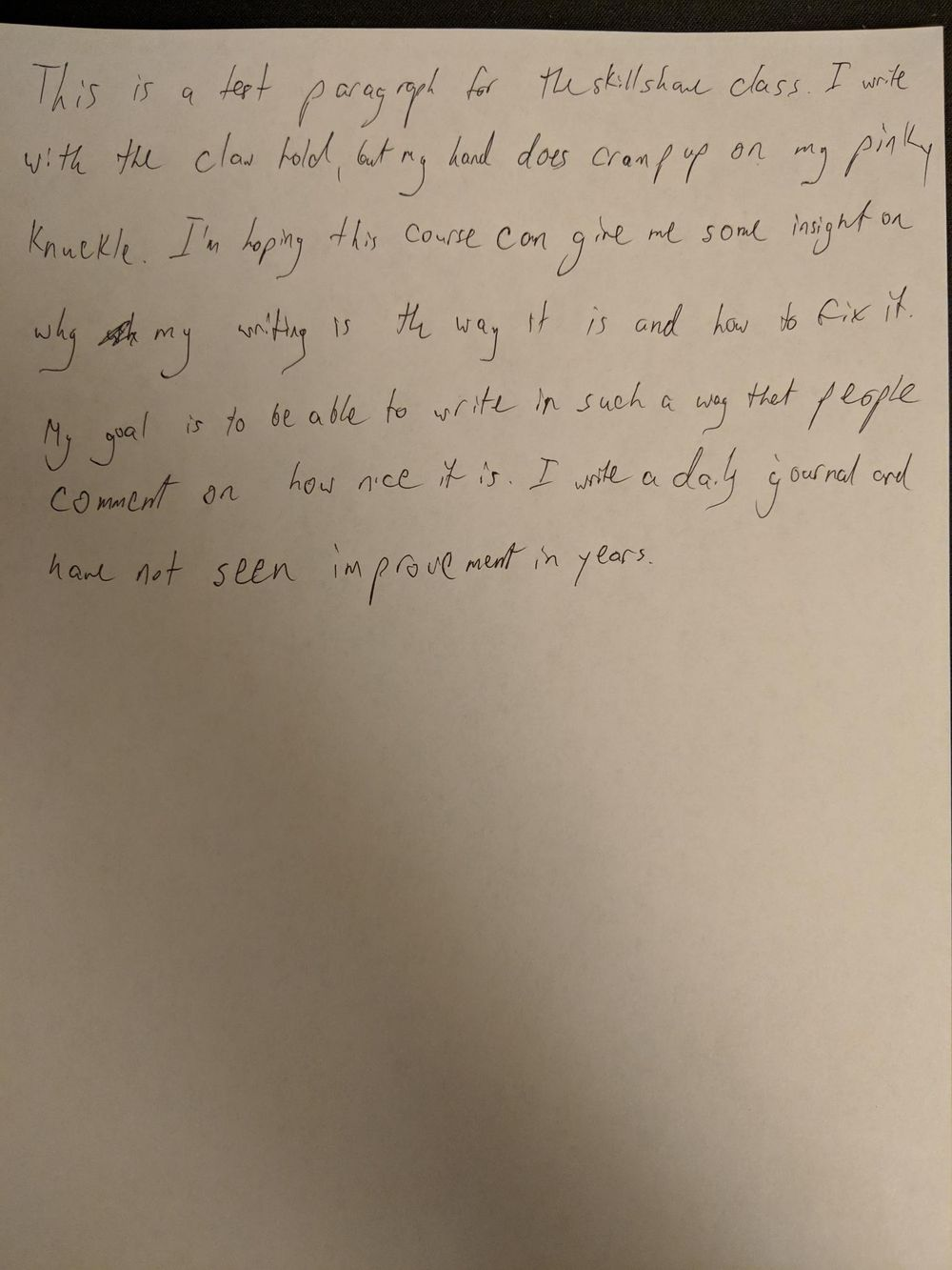 """Handwriting """"Before"""" sample paragraph - image 1 - student project"""