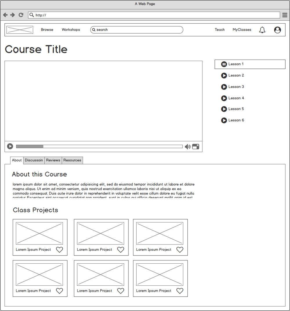 Sample Wireframe for Skillshare Page - image 1 - student project
