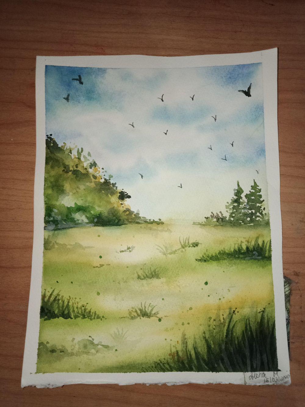 Green watercolour landscape - image 1 - student project