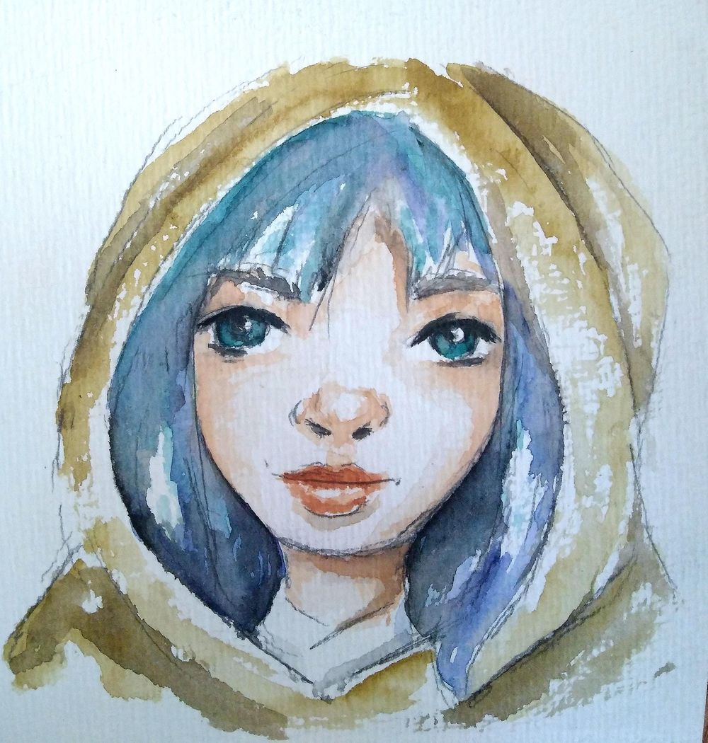 simple watercolor face - image 1 - student project