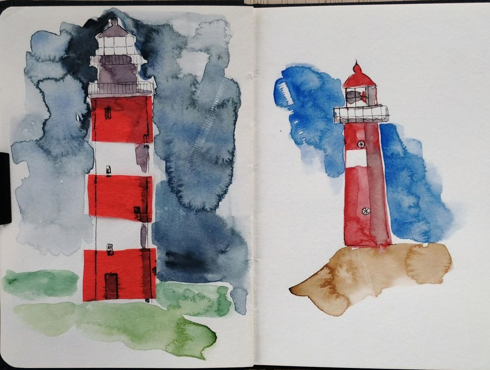 Watercolor Lighthouses - image 4 - student project