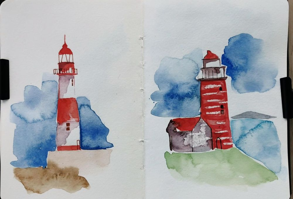 Watercolor Lighthouses - image 3 - student project