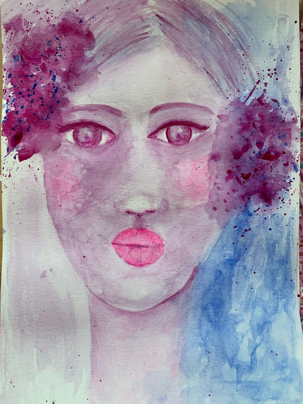Whimsical Face in watercolour - image 2 - student project