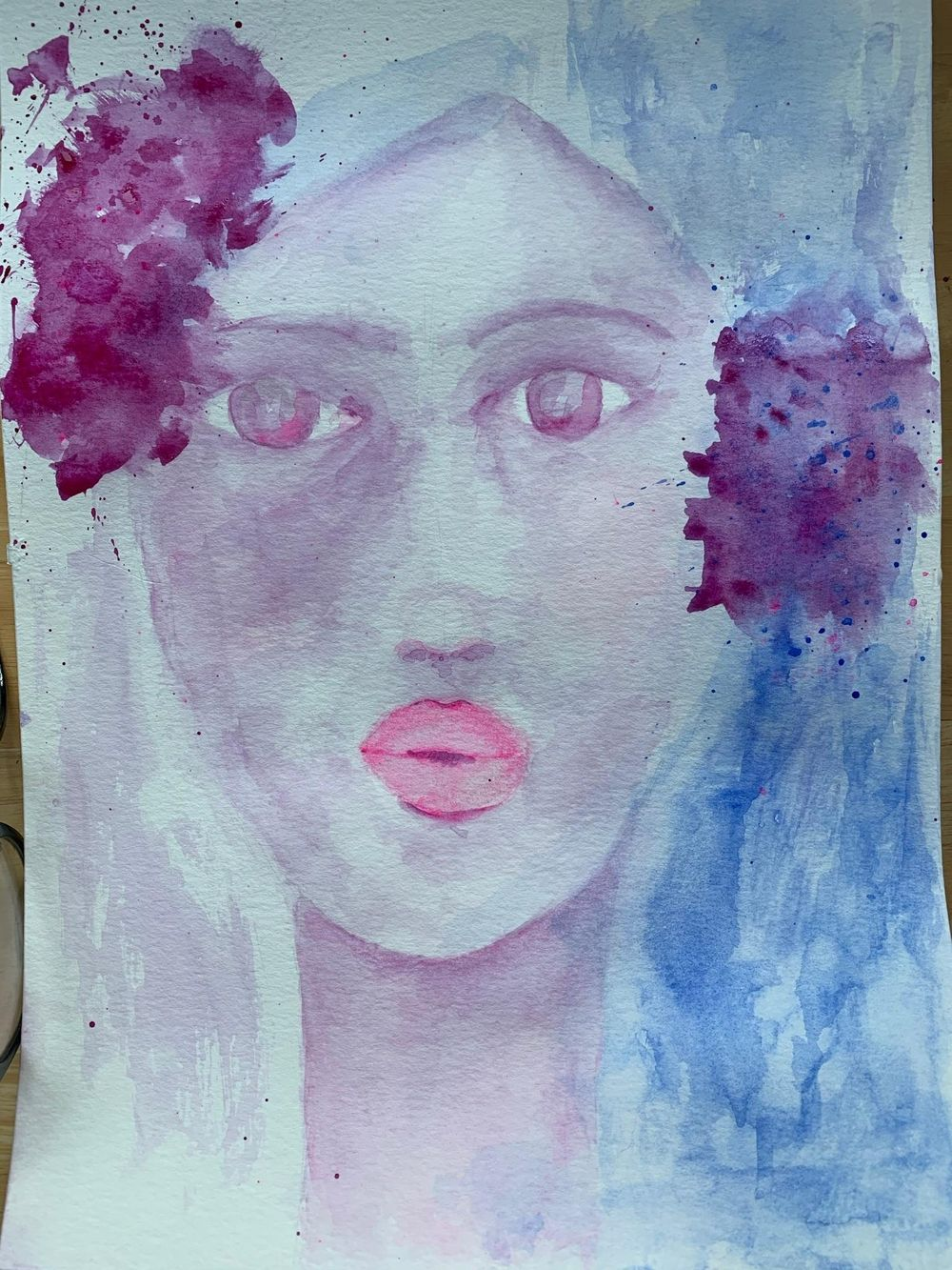 Whimsical Face in watercolour - image 3 - student project