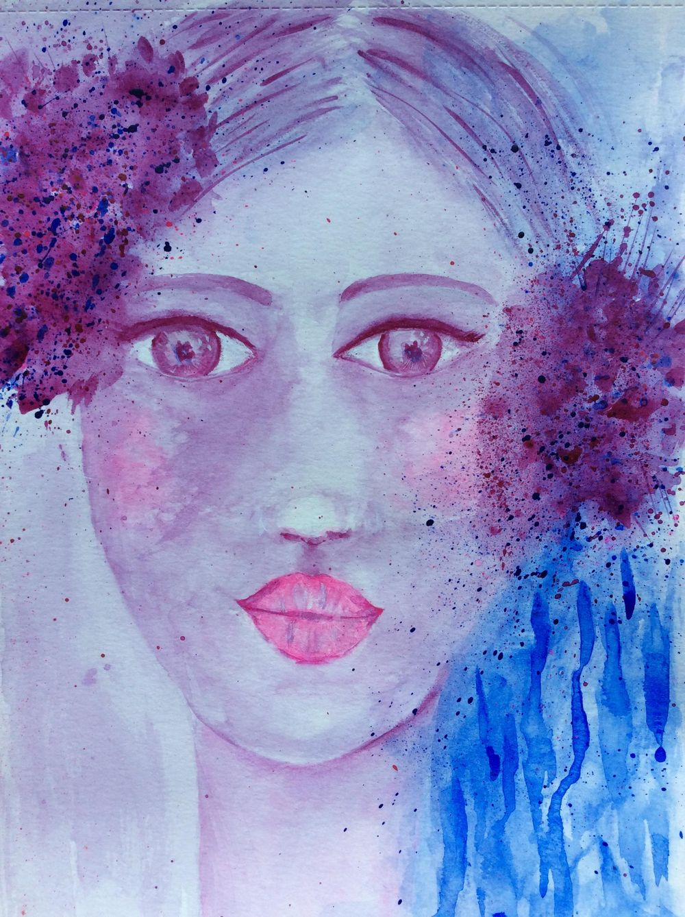 Whimsical Face in watercolour - image 1 - student project