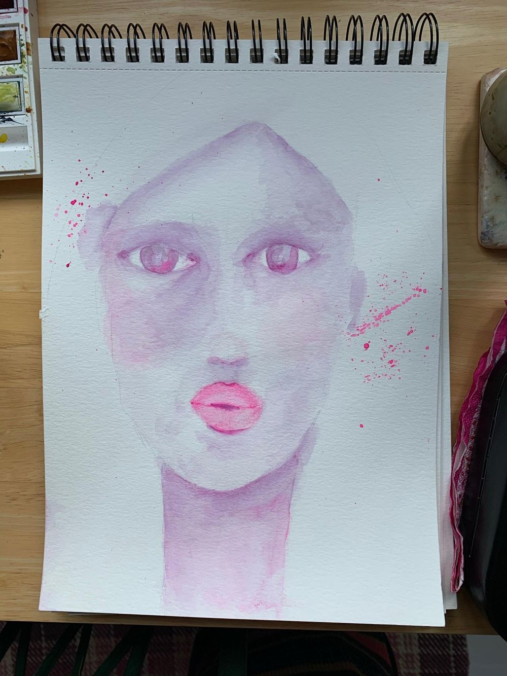 Whimsical Face in watercolour - image 4 - student project