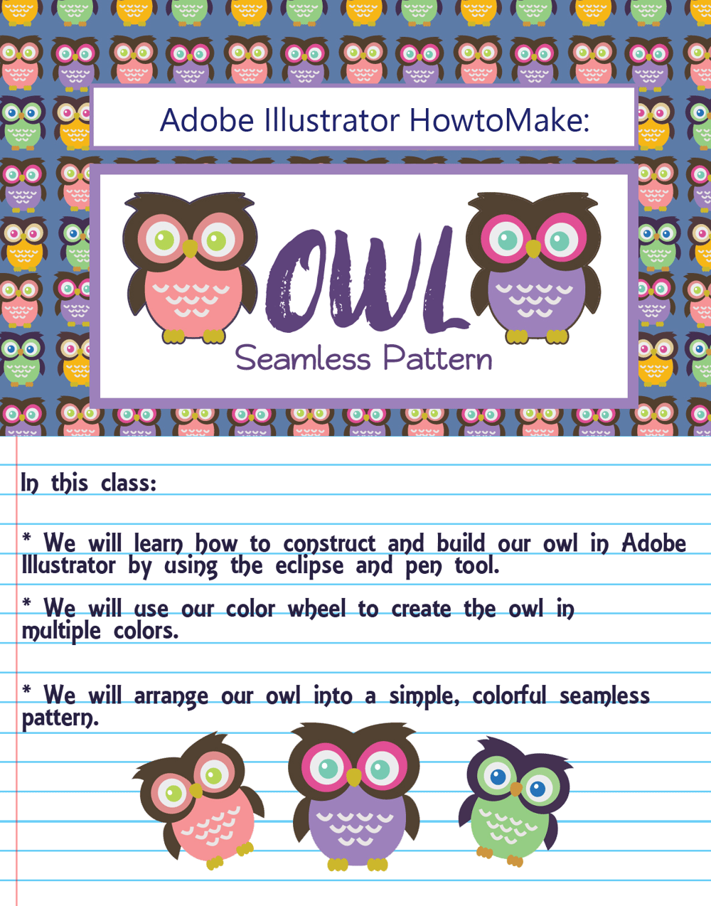 Adobe Illustrator: How to Make Seamless Owl Pattern - image 2 - student project