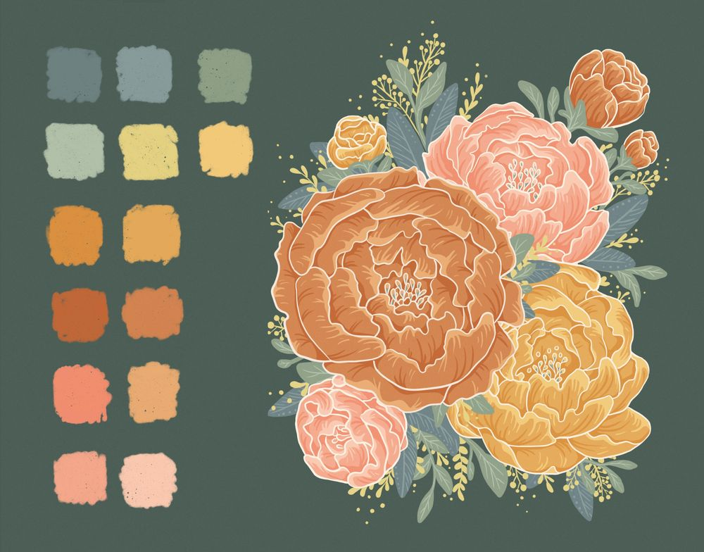 Illustrated Peonies - image 3 - student project