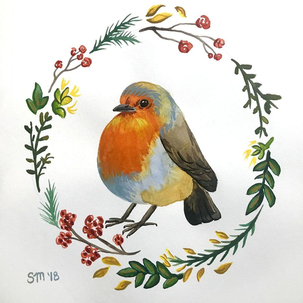 Wreath with robin - image 1 - student project
