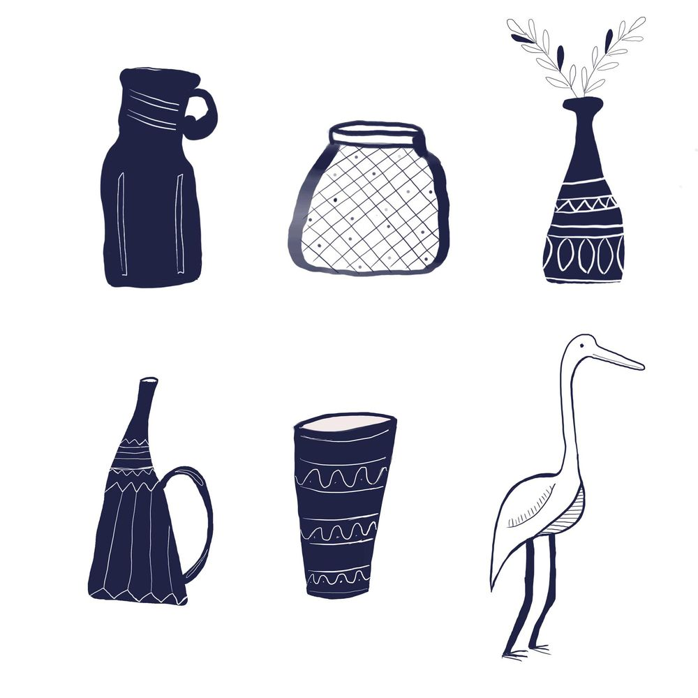 vases and heron monochrome - image 2 - student project