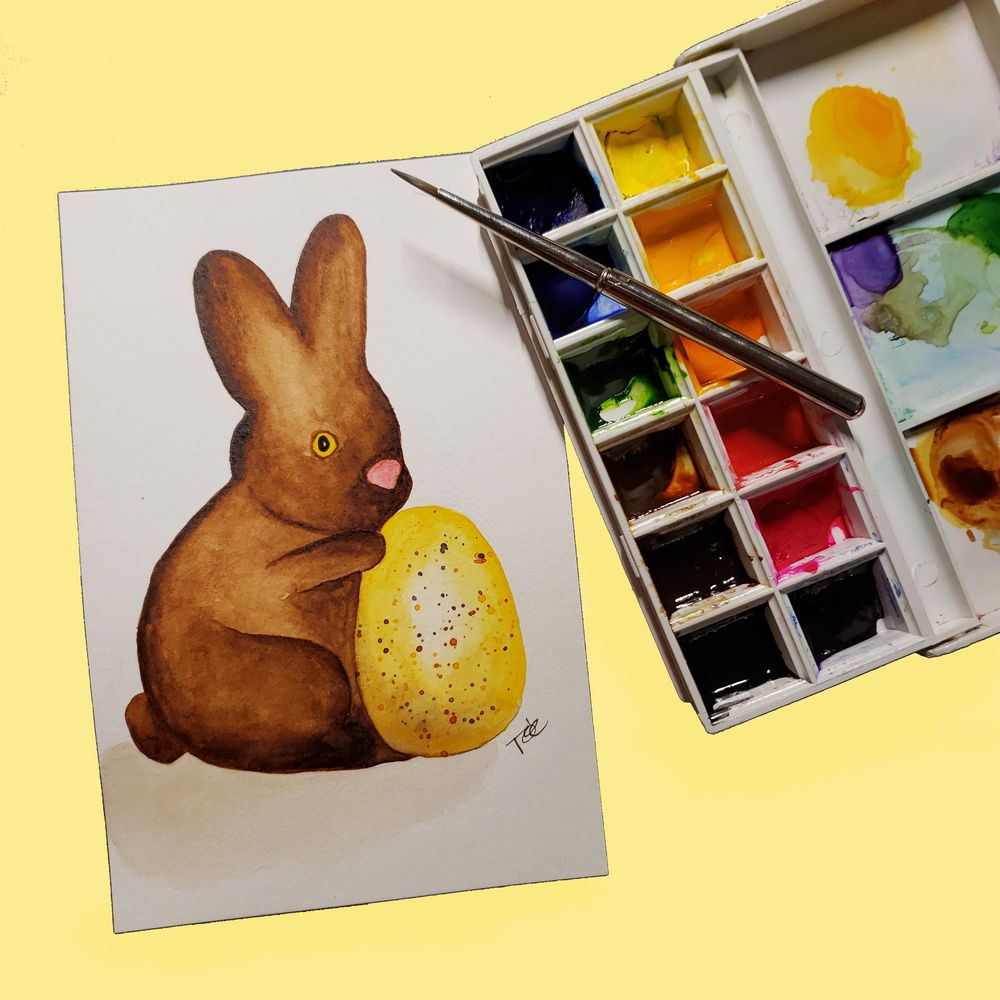 Chocolate Bunny w/ speckled egg - image 1 - student project