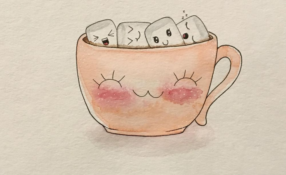 Mug of hot chocolate with cute marshmallows - image 1 - student project