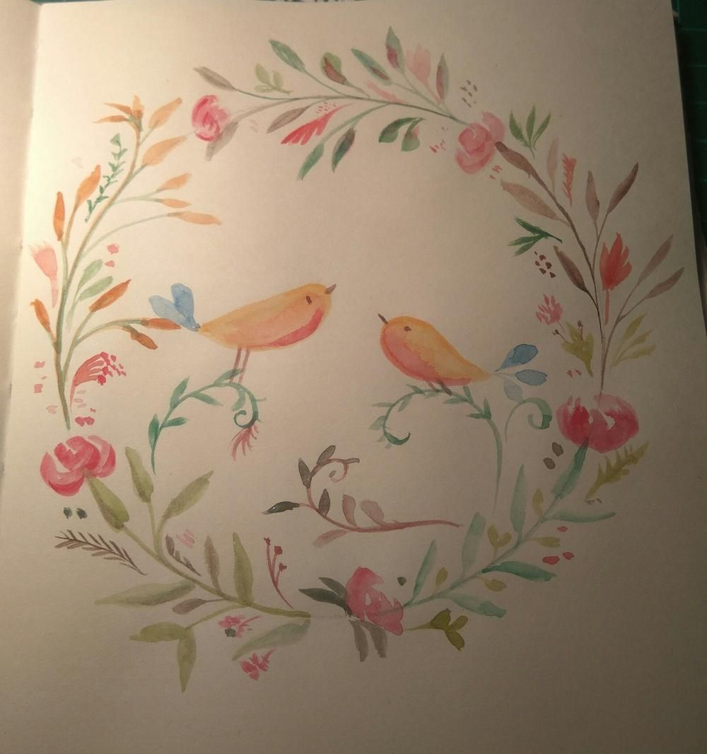 Watercolor Birds&Flowers - image 1 - student project