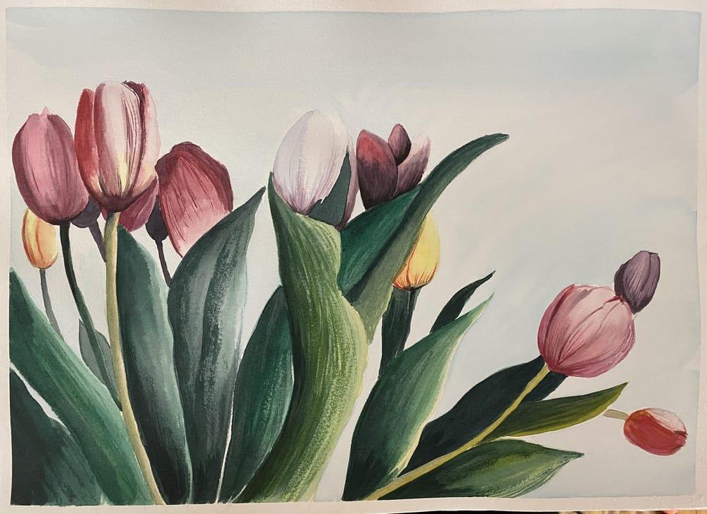 Watercolor Tulip Bouquet - image 1 - student project