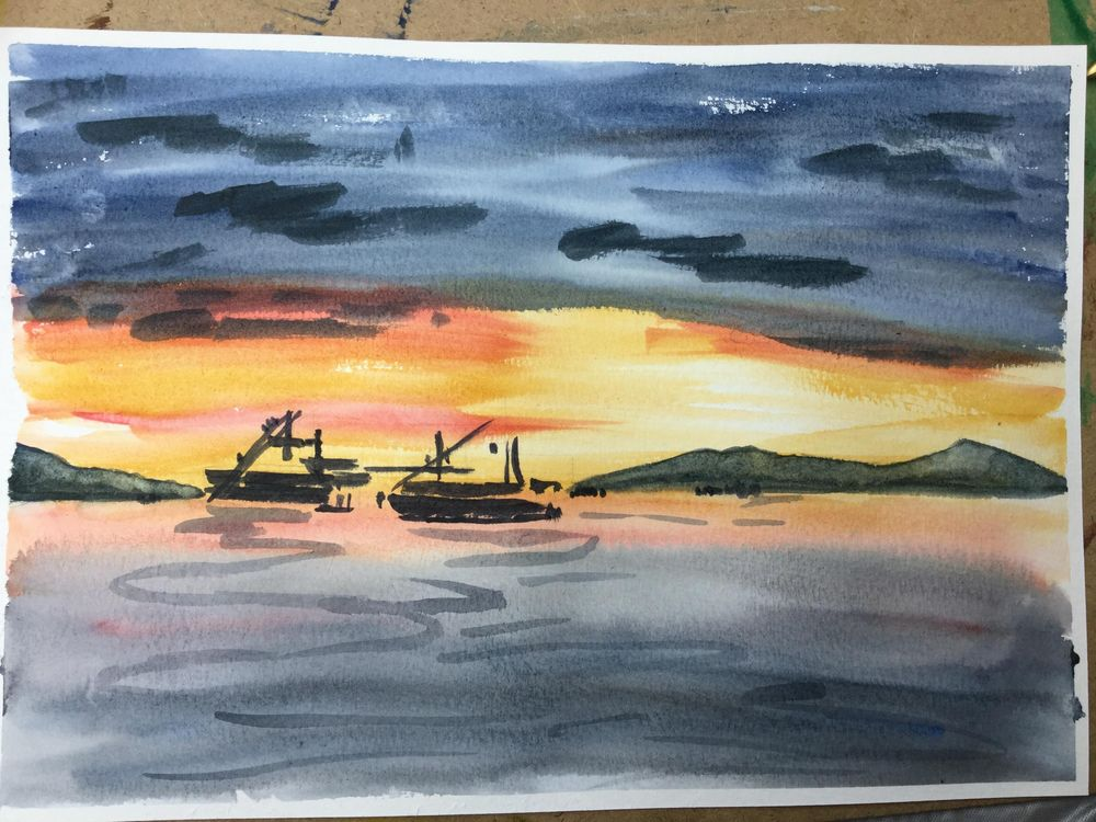 Painting a Watercolour Sunset with Rainbow - image 1 - student project