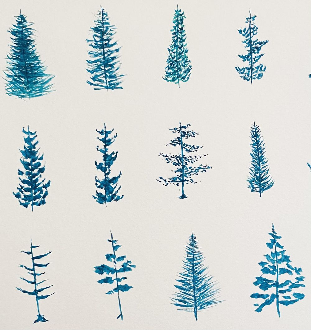 Watercolor pines practice - image 2 - student project