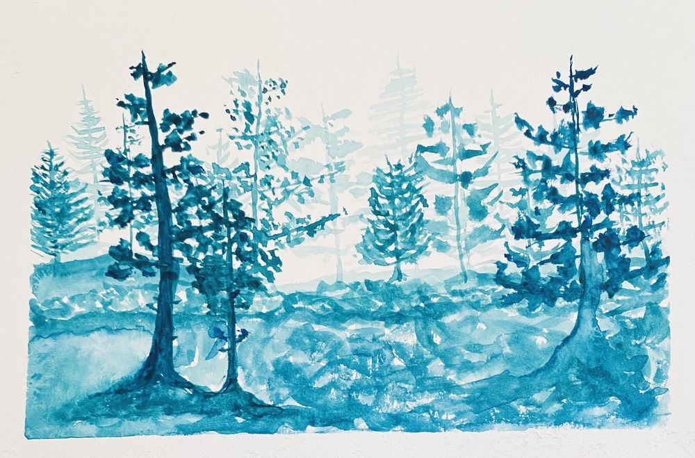 Watercolor pines practice - image 1 - student project