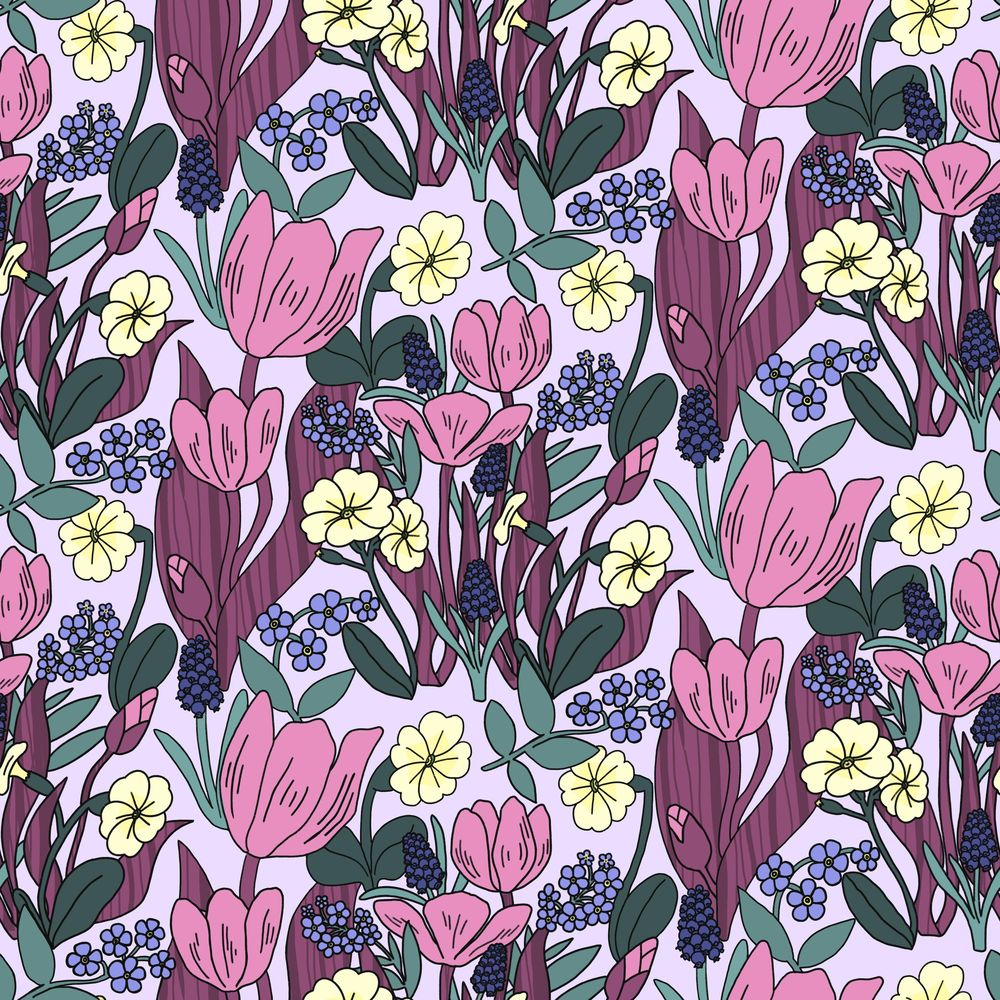 Create a Dense, Floral, Half Drop Pattern in Procreate - image 6 - student project