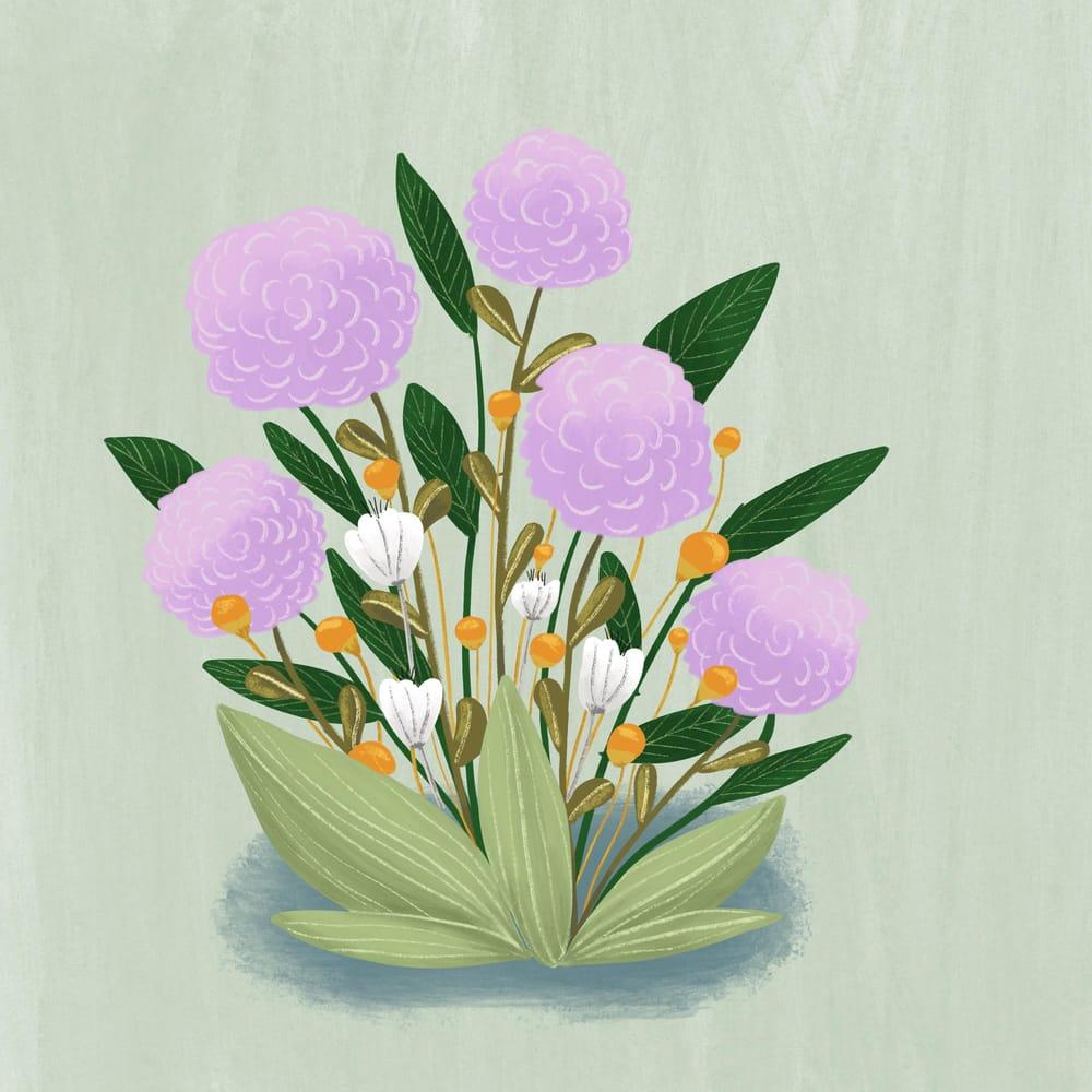 Floral gouache - image 1 - student project