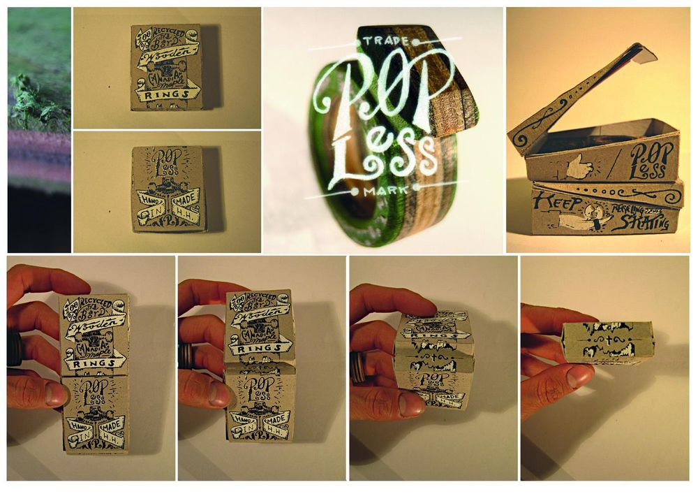 ☞ Popless ☜ Recycled Skateboard Wooden Rings - image 3 - student project