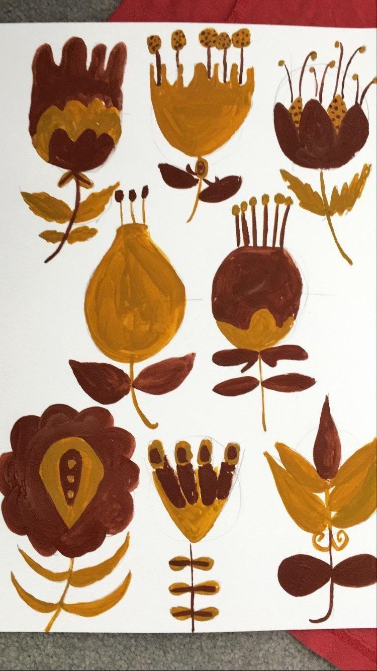 Botanical Folk art Flowers - image 3 - student project