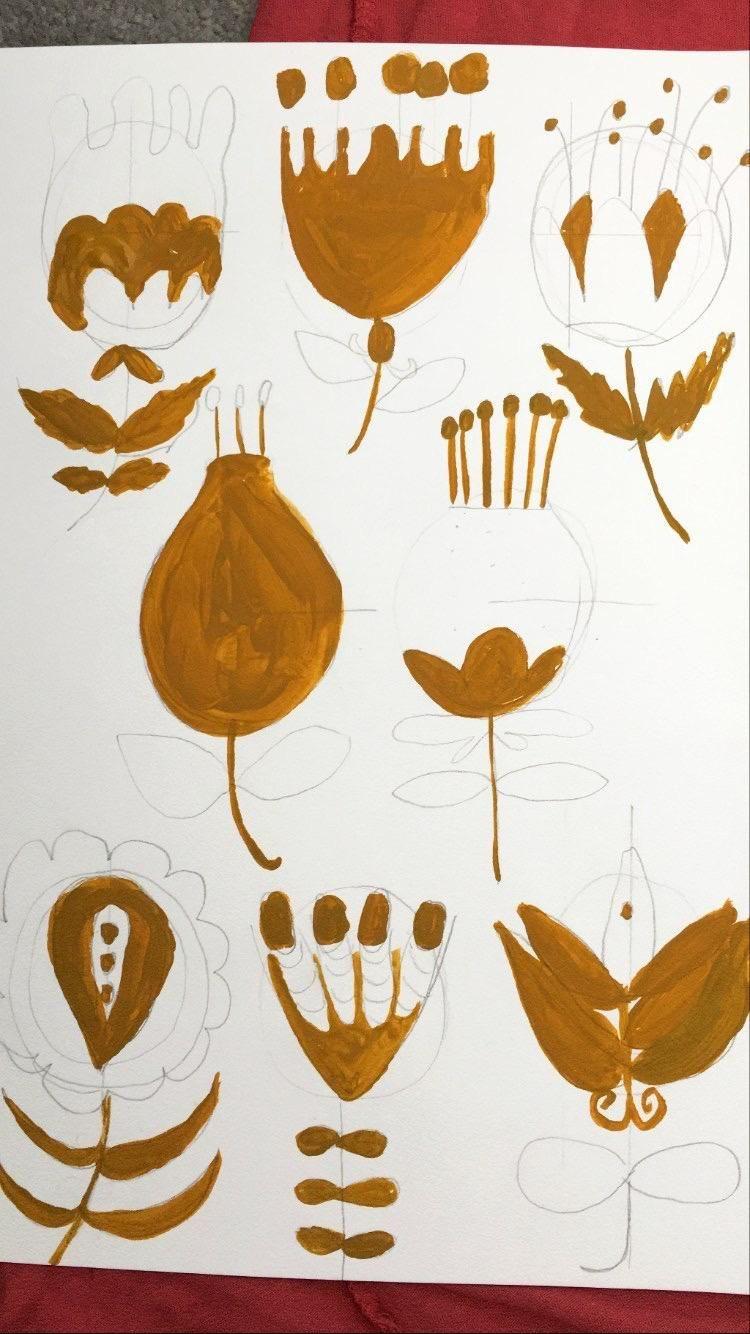 Botanical Folk art Flowers - image 2 - student project