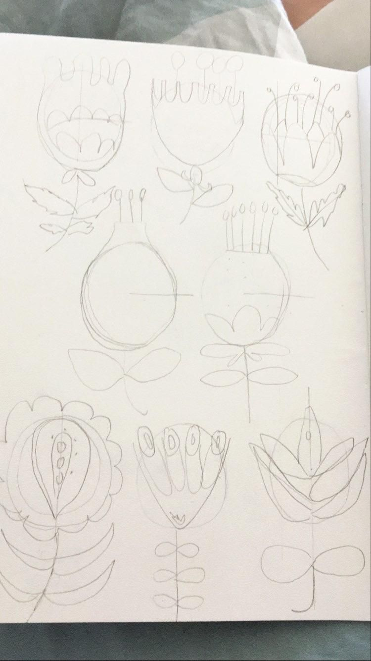 Botanical Folk art Flowers - image 1 - student project