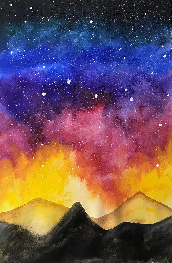 Watercolour Galaxy Night Sky - image 1 - student project