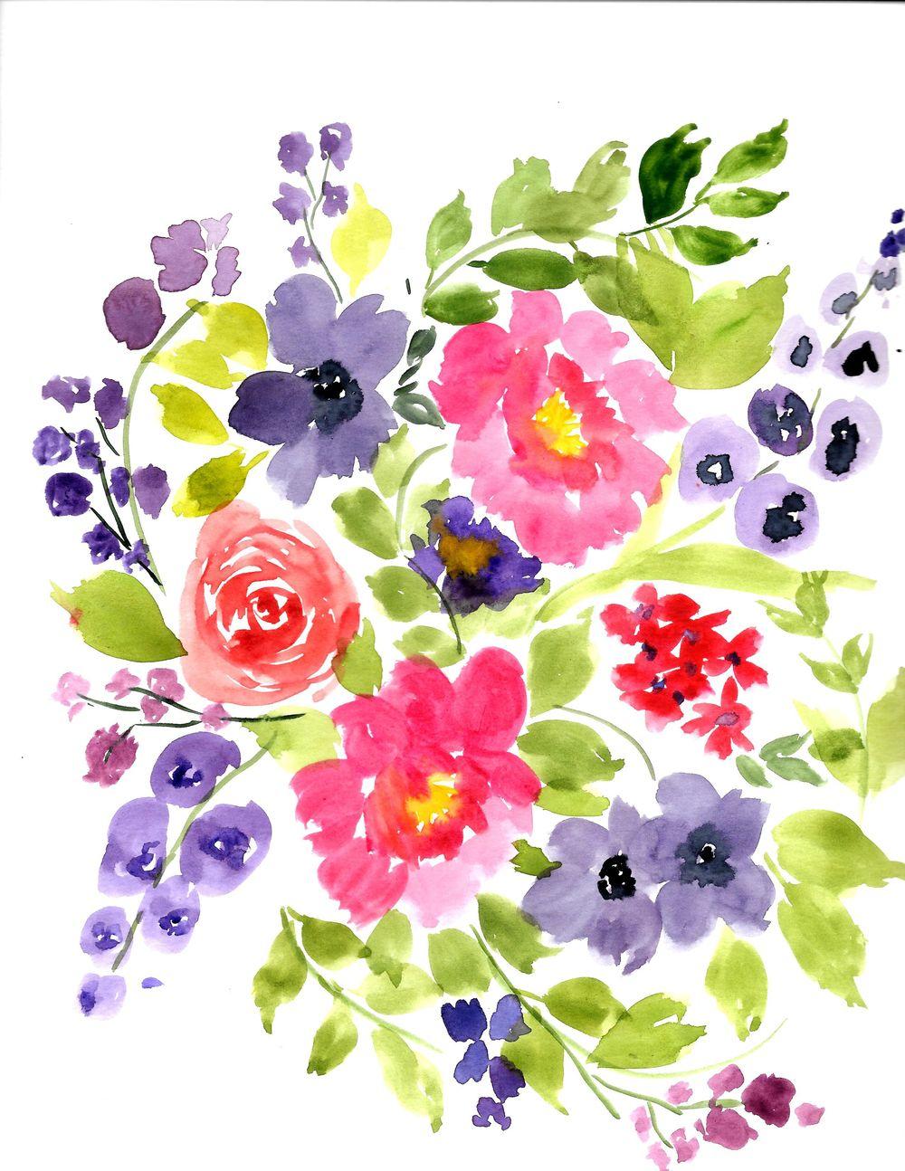 Watercolor Floral Arrangement - image 1 - student project