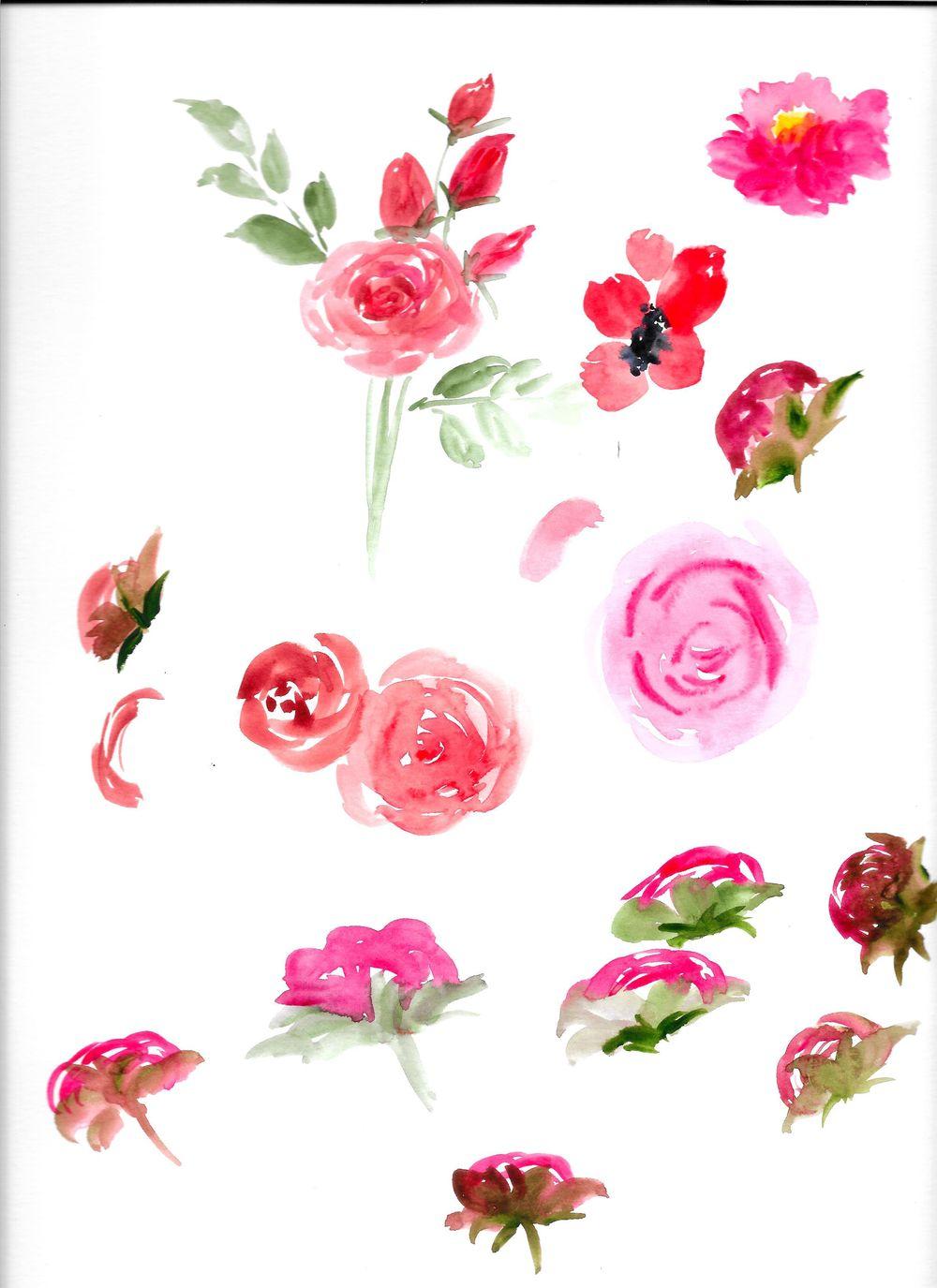 Watercolor Floral Arrangement - image 2 - student project
