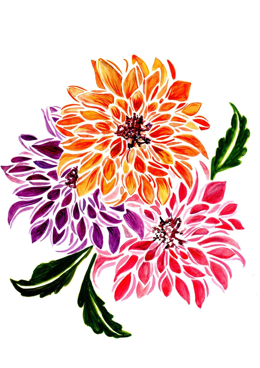 Dahlias Modern Style - image 1 - student project
