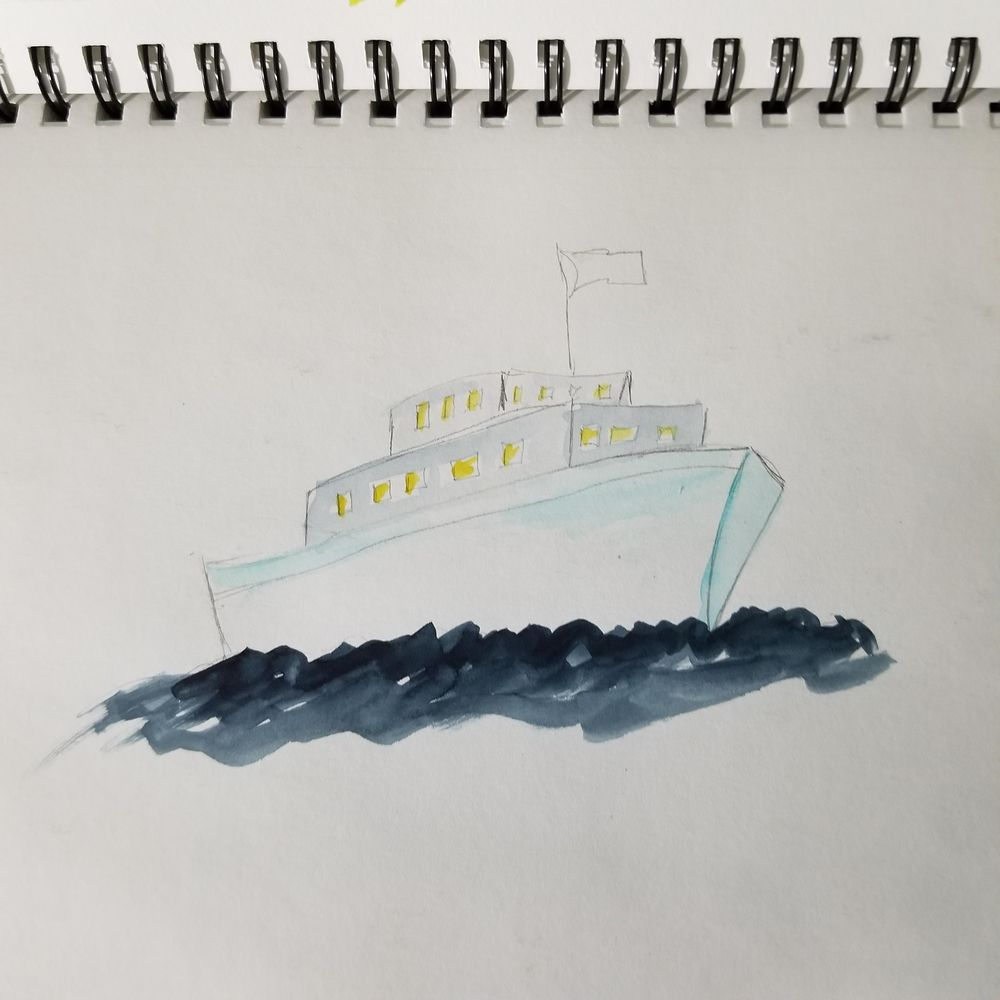 Watercolor Seascape & Boats - image 6 - student project